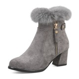 Women's Suede Wedge Heel Boots Closed Toe With Zipper (047190349)