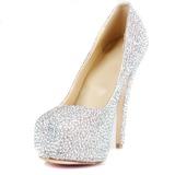 Femmes Cuir verni Talon stiletto Escarpins Plateforme Bout fermé avec Strass chaussures (085026495)