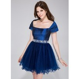 A-Line/Princess Off-the-Shoulder Short/Mini Taffeta Tulle Holiday Dress With Beading (020037395)