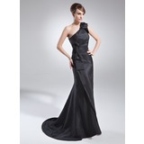 Trompete/Meerjungfrau-Linie One-Shoulder-Träger Sweep/Pinsel zug Taft Kleid für die Brautmutter mit Rüschen Schleife(n) (008015715)