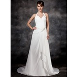 A-Line/Princess Halter Court Train Chiffon Wedding Dress With Beading Cascading Ruffles (002001693)