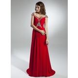 A-Linie/Princess-Linie Schulterfrei Sweep/Pinsel zug Chiffon Festliche Kleid mit Rüschen Perlen verziert (020032259)