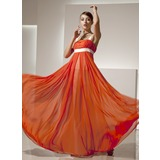 Empire Square Neckline Floor-Length Chiffon Prom Dress With Ruffle Sash (018135205)