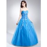 Duchesse-Linie Schatz Bodenlang Tüll Quinceañera Kleid (Kleid für die Geburtstagsfeier) mit Rüschen Perlstickerei Applikationen Spitze Pailletten (021015864)