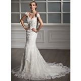 Trumpet/Mermaid Off-the-Shoulder Chapel Train Tulle Wedding Dress With Lace Beading (002011499)