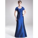 Sheath/Column Sweetheart Floor-Length Taffeta Lace Mother of the Bride Dress With Ruffle Beading (008005642)