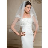Two-tier Cut Edge Elbow Bridal Veils With Beading (006024472)