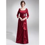 A-Linie/Princess-Linie Rechteckiger Ausschnitt Bodenlang Charmeuse Kleid für die Brautmutter mit Rüschen Perlen verziert Pailletten (008006044)