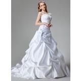 Corte A/Princesa Cola capilla Satén Vestido de novia con Bordado Lentejuelas (002000436)