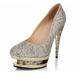 Vrouwen Suede Stiletto Heel Closed Toe Pumps met Strass Juwelen Hak (047040908)