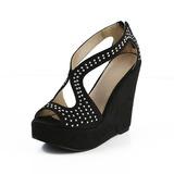 Suédé Hauteur de semelle compensée Sandales Bout ouvert avec Strass zip chaussures (087033705)