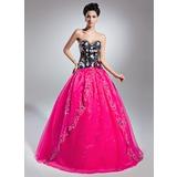 Duchesse-Linie Schatz Bodenlang Organza Quinceañera Kleid (Kleid für die Geburtstagsfeier) mit Perlstickerei Applikationen Spitze Blumen Pailletten (021015139)