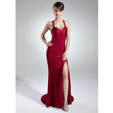 Trompete/Meerjungfrau-Linie Herzausschnitt Sweep/Pinsel zug Charmeuse Abendkleid mit Perlen verziert Schlitz Vorn (008016015)