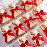 Classic Cuboid Card Paper Favor Boxes & Containers With Ribbons (Set of 12) (050203419)