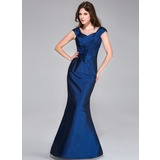 Trumpet/Mermaid Sweetheart Floor-Length Taffeta Bridesmaid Dress With Ruffle Flower(s) (008026212)