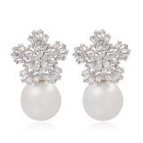 Snowflakes Shaped Pearl/Zircon/Platinum Plated Ladies' Earrings (011057440)