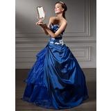 Duchesse-Linie Schatz Bodenlang Taft Quinceañera Kleid (Kleid für die Geburtstagsfeier) mit Perlstickerei Applikationen Spitze Pailletten Gestufte Rüschen (021013815)