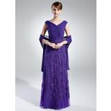 A-Linie/Princess-Linie Schulterfrei Bodenlang Chiffon Kleid für die Brautmutter mit Rüschen Spitze (008006021)