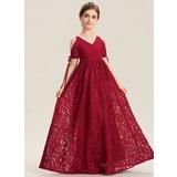 A-Linie V-Ausschnitt Bodenlang Spitze Kleid für junge Brautjungfern mit Rüschen Schleife(n) (009173312)