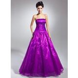 Duchesse-Linie Trägerlos Bodenlang Organza Quinceañera Kleid (Kleid für die Geburtstagsfeier) mit Rüschen (021015131)