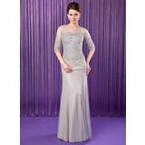 Trompete/Meerjungfrau-Linie U-Ausschnitt Bodenlang Chiffon Kleid für die Brautmutter mit Perlstickerei Pailletten (008019704)