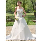 Ball-Gown Strapless Cathedral Train Organza Satin Wedding Dress With Ruffle Beading Bow(s) (002024692)