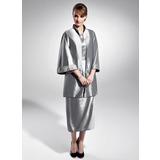 Etui-Linie U-Ausschnitt Wadenlang Taft Kleid für die Brautmutter mit Rüschen Perlen verziert (008015056)