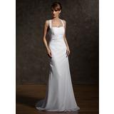 Jacka Grimma Court släp Chiffong Bröllopsklänning med Rufsar Pärlbrodering Applikationer Spetsar (002011507)