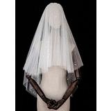 4 couches Bord de coupe Voile de mariée longueur coude avec Paillette (006183267)