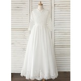 A-Line Sweep Train Flower Girl Dress - Tulle/Lace Long Sleeves V-neck (010183550)