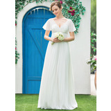 Empire V-neck Floor-Length Chiffon Wedding Dress With Beading Pleated (002042302)