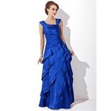 A-Linie/Princess-Linie V-Ausschnitt Bodenlang Charmeuse Kleid für die Brautmutter mit Gestufte Rüschen (008006288)