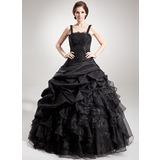 Duchesse-Linie Rechteckiger Ausschnitt Bodenlang Taft Organza Quinceañera Kleid (Kleid für die Geburtstagsfeier) mit Perlen verziert Applikationen Spitze Pailletten Gestufte Rüschen (021002873)