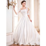Ball-Gown Square Neckline Court Train Satin Wedding Dress With Ruffle Lace Beading Sequins (002055084)