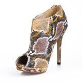Frauen Kunstleder Stöckel Absatz Peep Toe Stiefelette mit Tierdruckmuster Schuhe (088016951)