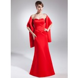 Trumpet/Mermaid Sweetheart Floor-Length Satin Bridesmaid Dress (007001471)