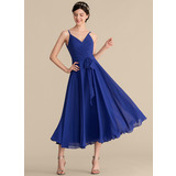 A-Line V-neck Tea-Length Chiffon Cocktail Dress With Ruffle Bow(s) (016192787)