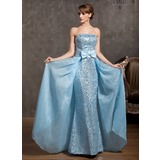 Sheath/Column Strapless Floor-Length Organza Prom Dress With Sequins Bow(s) (018014879)
