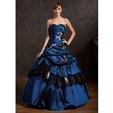 Duchesse-Linie Herzausschnitt Bodenlang Taft Quinceañera Kleid (Kleid für die Geburtstagsfeier) mit Rüschen Perlen verziert Applikationen Spitze Blumen Pailletten (021015144)