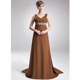 Empire Sweetheart Watteau Train Chiffon Mother of the Bride Dress With Ruffle Beading (008005668)