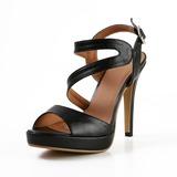 Konstläder Cone Heel Sandaler Plattform Peep Toe Slingbacks skor (087027276)