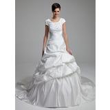 Balklänning Rund-urringning Domkyrkan Tåg Satäng Bröllopsklänning med Spetsar Pärlbrodering Paljetter Rosett/-er (002012761)