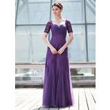 A-Linie/Princess-Linie Schatz Bodenlang Tüll Kleid für die Brautmutter mit Rüschen Perlen verziert Pailletten (008018693)