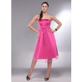 A-Line/Princess Strapless Knee-Length Satin Maternity Bridesmaid Dress With Ruffle (045013064)