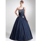 Duchesse-Linie One-Shoulder-Träger Bodenlang Taft Quinceañera Kleid (Kleid für die Geburtstagsfeier) mit Perlen verziert Pailletten (021020793)