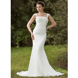 Trumpet/Mermaid Square Neckline Court Train Chiffon Wedding Dress With Ruffle Lace Beading Sequins (002001702)