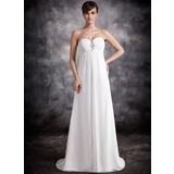 Empire Sweetheart Sweep Train Chiffon Evening Dress With Ruffle Beading (017016876)