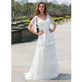 Empire V-neck Sweep Train Chiffon Wedding Dress With Ruffle Flower(s) Bow(s) (002024596)