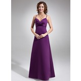 Empire Floor-Length Satin Bridesmaid Dress With Ruffle (007004279)