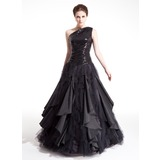 Ball-Gown One-Shoulder Floor-Length Taffeta Tulle Sequined Prom Dress With Ruffle Cascading Ruffles (018004860)